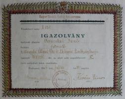 1946 - Igazolvány XV. éves szolgálati érem viselésére