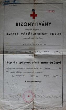 1936 - Lég- és gázvádelmi mentésügyi tanfolyam bizonyítvány